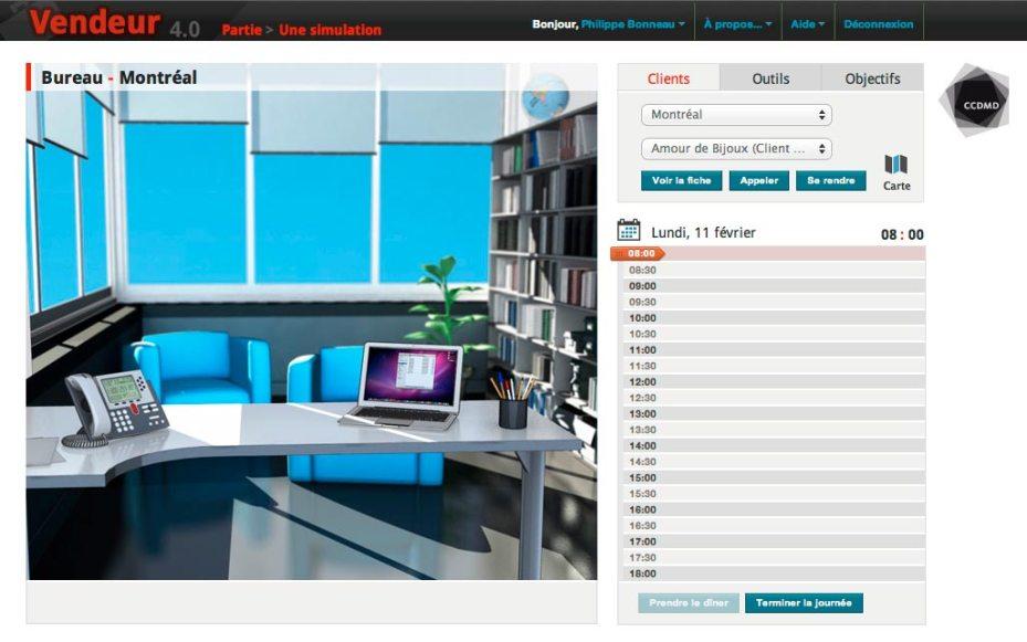 Écran principal de la simulation-jeu «Vendeur», version 4.0