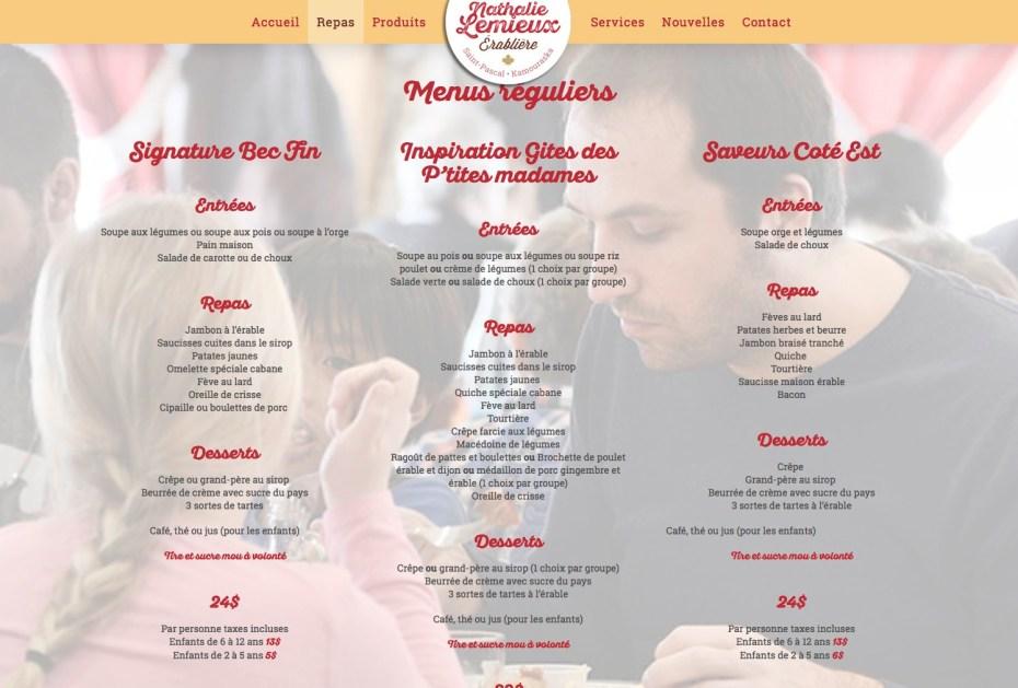 Page Repas - menus réguliers