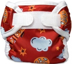 deep red diaper cover with clouds and rockets