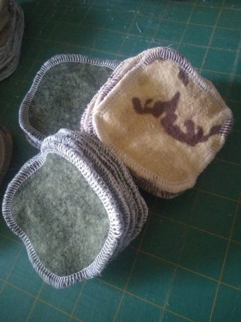2 ply flannel cosmetic wipes; green mottled flannel or brown camo