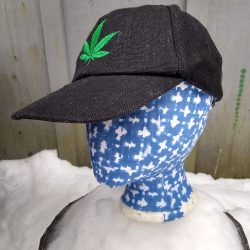 black hemp canvas ball cap with bright green hemp leaf embroidered on front.