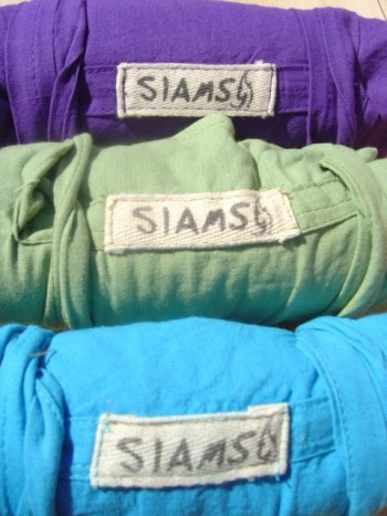 purple, sage and bright blue siams pants