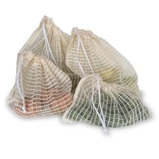 Bolsas de malla beige para fruta y verdura (Pack 4 piezas)