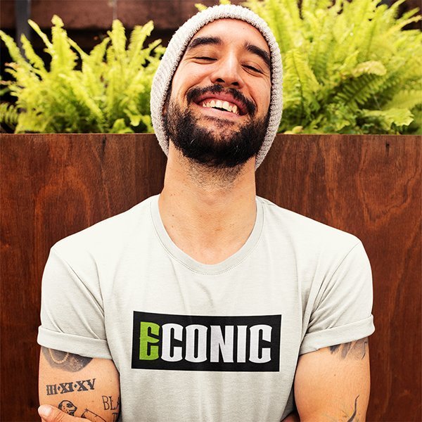 template-of-a-man-with-a-beanie-wearing-an-ECONIC-eco-t-shirt-while-on-a-terrace