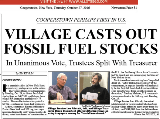 Cooperstown NY fossil fuels divestiture debate