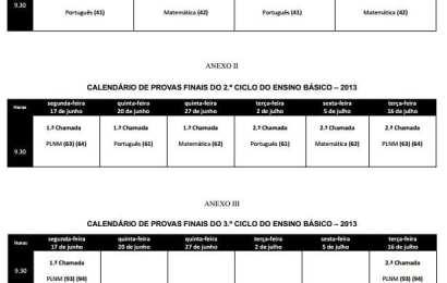 Calendário de exames nacionais para o ensino básico – 2013/2014