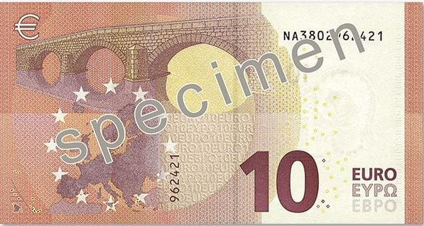 Nova nota de 10 euros verso