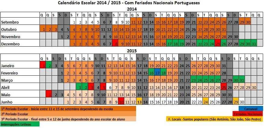 Calendário Escolar 2014-2015 para impressão (Excel)