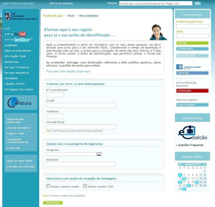 Como pedir acesso ao portal das finanças