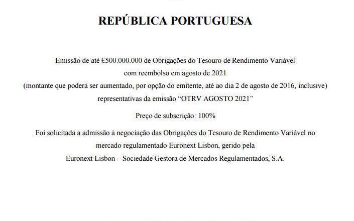 Obrigações do Tesouro OTRV Agosto 2021