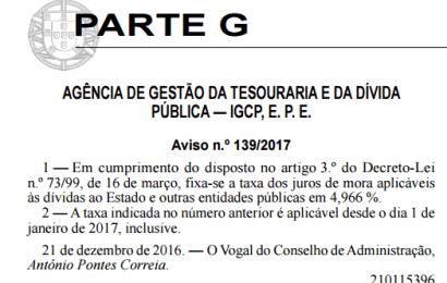 Taxa dos Juros de Mora 2017