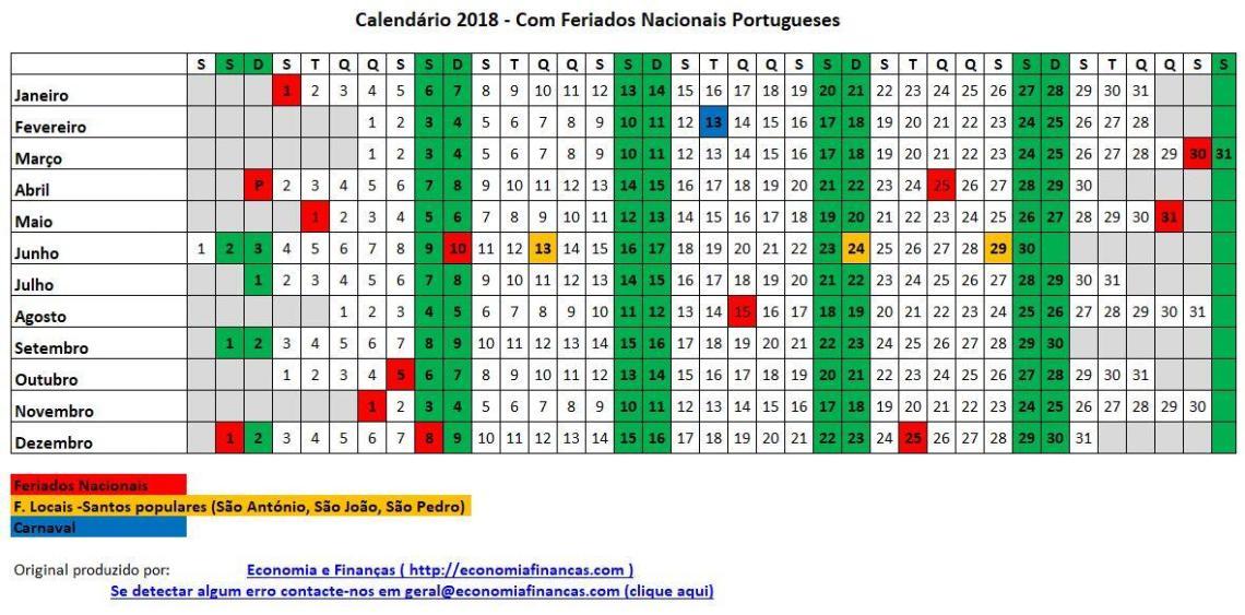 Calendário 2018 Portugal Excel para impressão