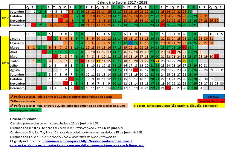 mapa escolar portugal Calendário Escolar 2017 2018 em Excel   Economia e Finanças mapa escolar portugal