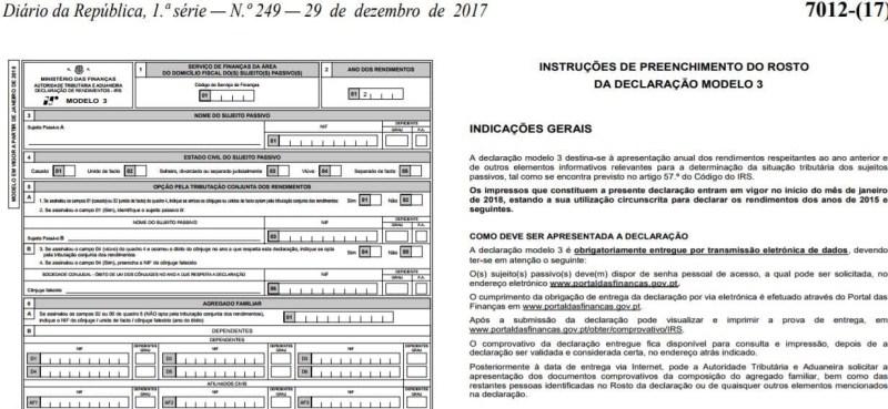 Modelo 3 e Anexos IRS 2018