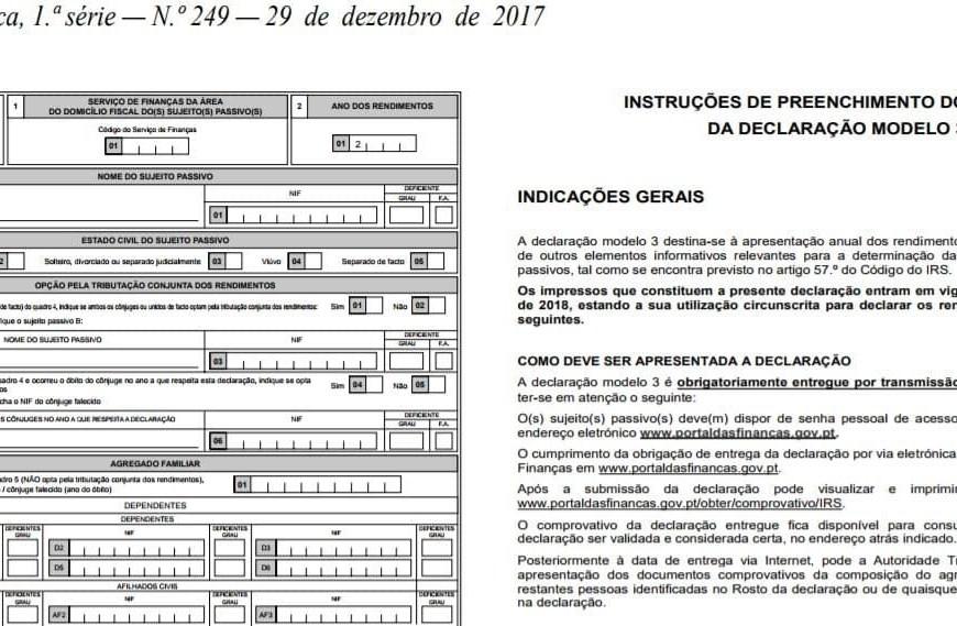 Entrega de IRS em 2018 só pela Internet – Novos Modelo 3 anexos
