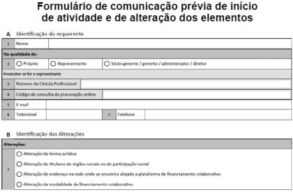 Formulário de Comunicação Prévia financiamento colaborativo - crowdfunding