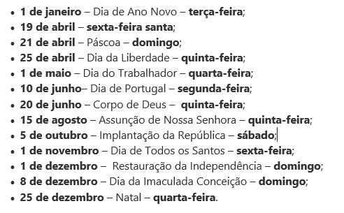 Feriados em 2019 – Portugal