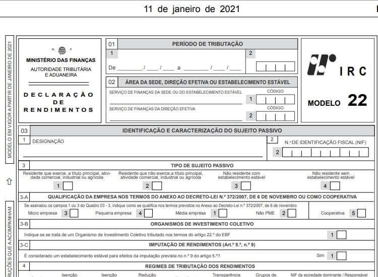 Modelo 22 para 2021