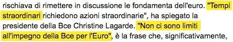 Per salvare l?euro la BCE non ha limiti di spesa