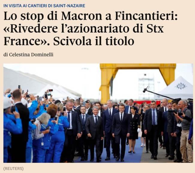 Macron stops at Fincantieri