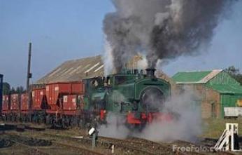 Steam hauled coal train on the Bowes Railway, Springwell