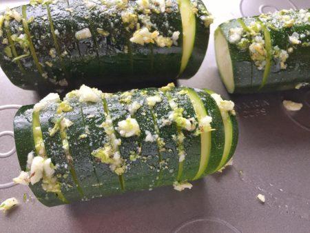 Baked Hasselback Zucchini Close Up