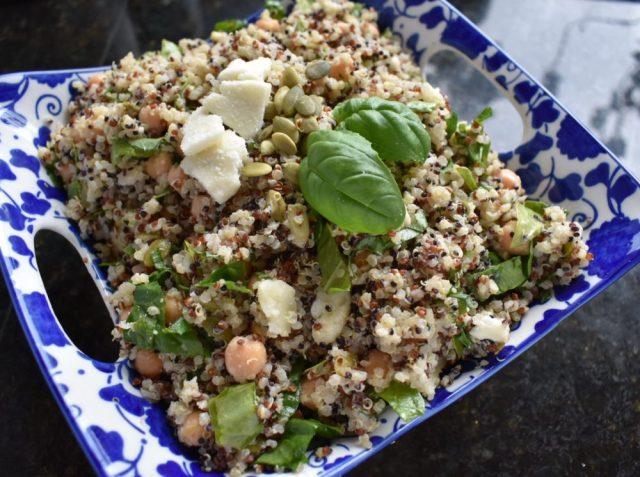 Basil Quinoa and Chickpea Salad with Tahini Dressing