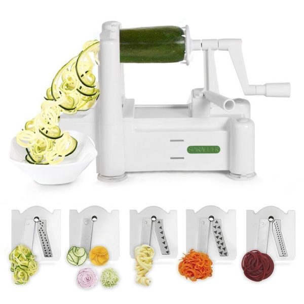 Spiralizer 5-Blade Vegetable Slicer, Strongest-and-Heaviest Duty,