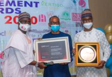 President NIPR Presents Africa and Golden World Award in PR to Spokesperson of NCC at SAEMA AWards in Abuja