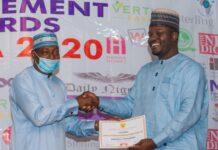 Air Comdr Yusuf Anas of CCC presents SAEMA award to Dr. Mohammed Goje of YOSEMA
