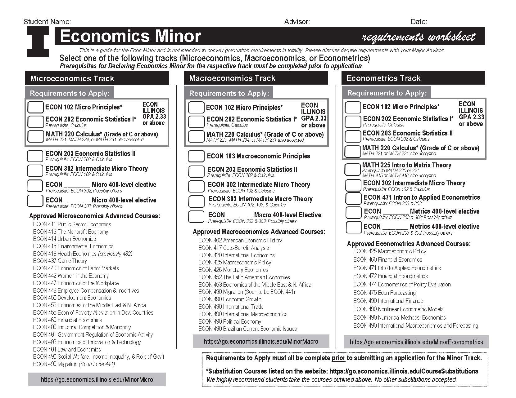 Econ Minor Worksheet