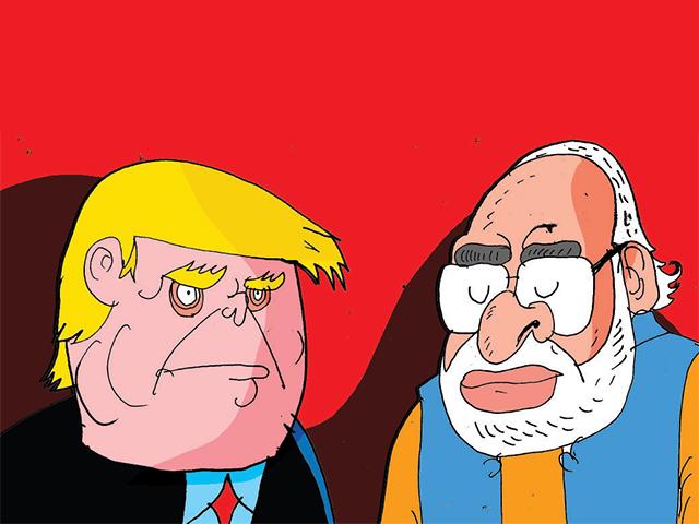 Afbeeldingsresultaat voor trump and modi cartoons