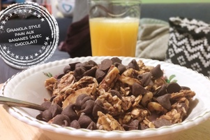 Granola style pain aux bananes (avec chocolat)