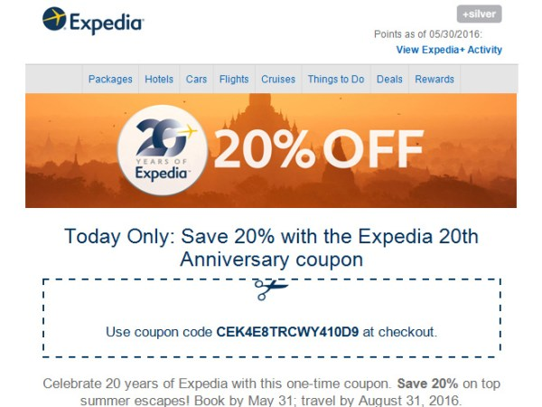 Expedia.com 20% off Coupon – Today Only