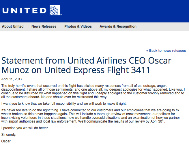 United Airlines 3411 Apology