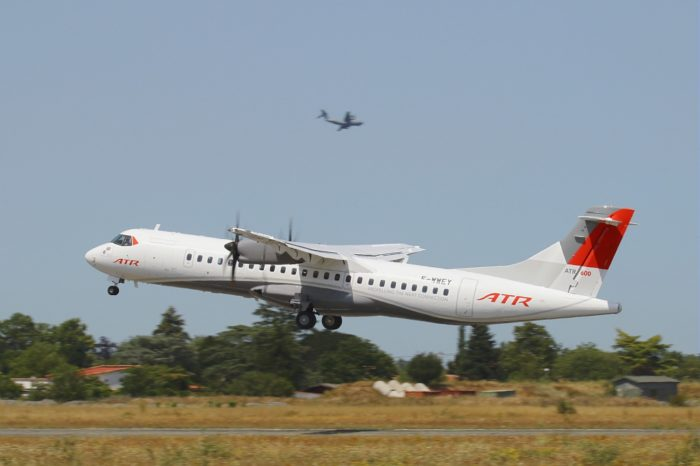ATR 72-600 pre-series in New Corporate livery taking off from Francazal airport, Image ATR - and will fly for ATR