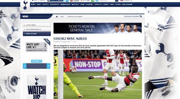 SANCHEZ MOVE AGREED on Spurs Website
