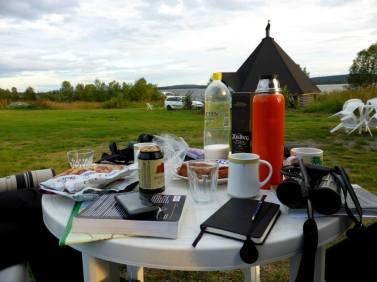 Evening at cabin at Piilijärvi