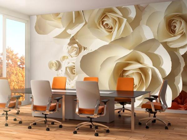 Фотообои Белые и оранжевые розы 3д купить на заказ - Эко Обои