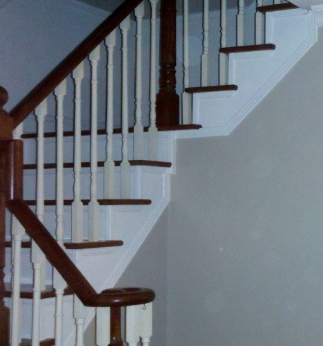 What Colour To Paint Stair Risers | Dark Stained Stairs With White Risers | Restain | Tread | 2 Colour | Staining | Glossed