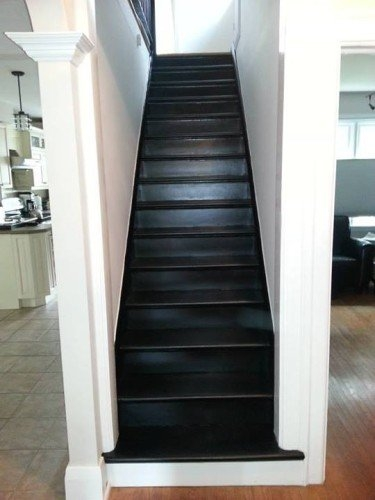 What Colour To Paint Stair Risers | Hardwood Stairs With White Risers | Pine | Tread | Trim | Hardwood Flooring | Before And After