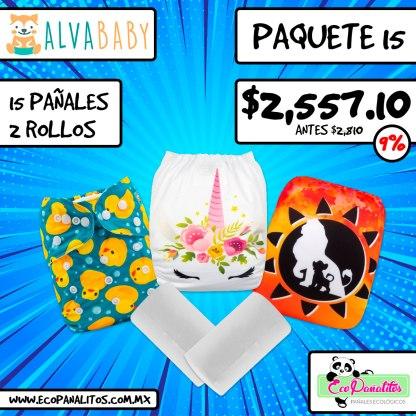 paquete de 15 pañales ecológicos impresos alva baby