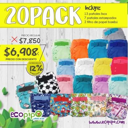 paquete de 20 pañales ecológicos ecopipo