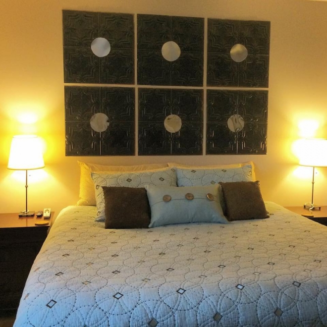 DIY Ceiling Tiles Headboard Miranda Ray