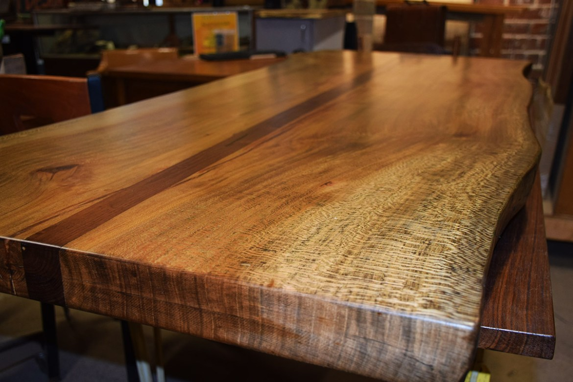 custom live edge sycamore and walnut table top