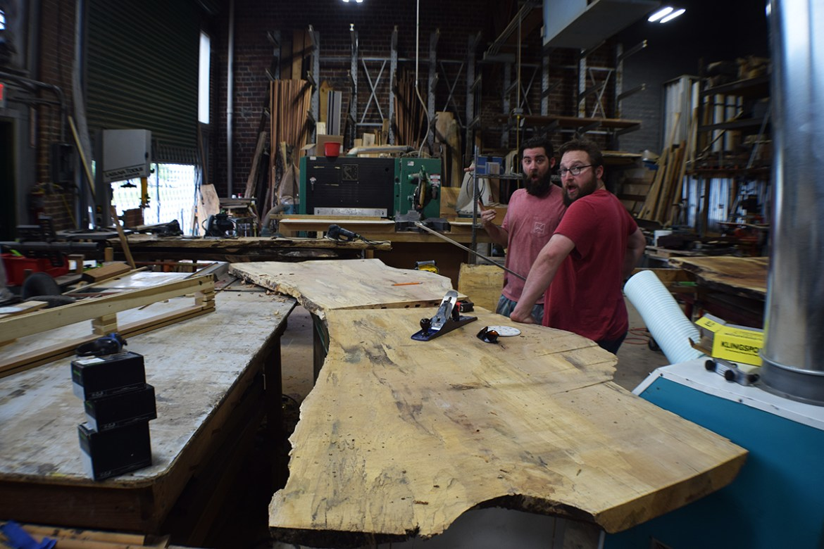 Parker and Robert working together to begin joining the slabs.
