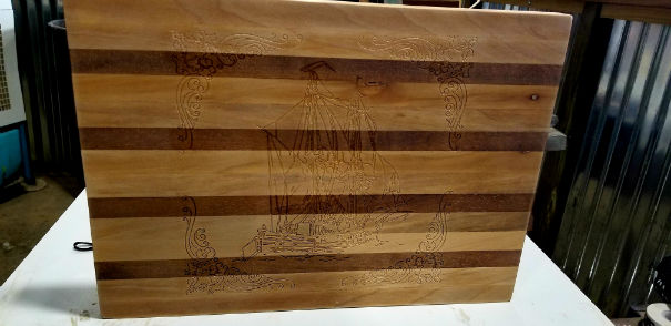 Sailing ship cutting board finished