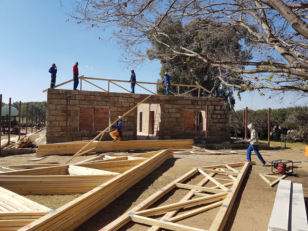 Wooden trusses for new roof