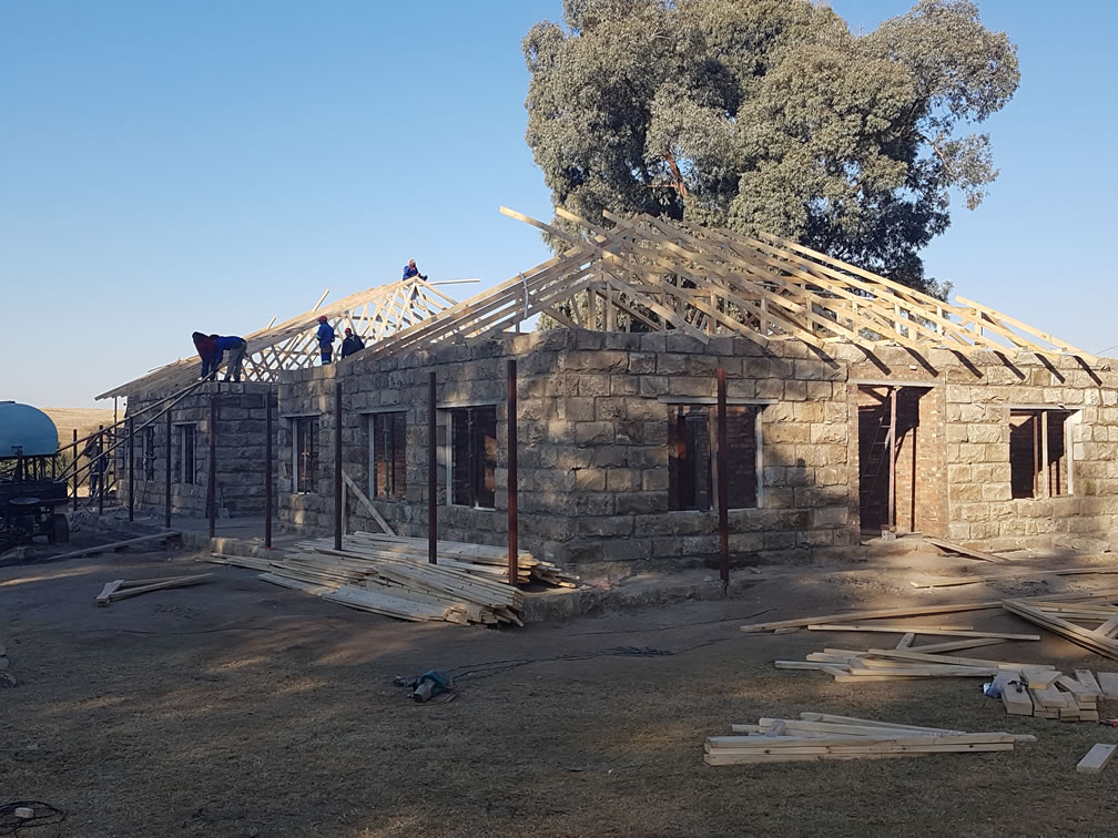Prefabricated timber roof truss erection