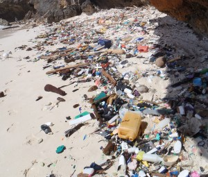 Many pieces of plastic littered across a sandy beach